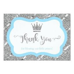 Little Prince Thank You , Blue, Faux Glitter