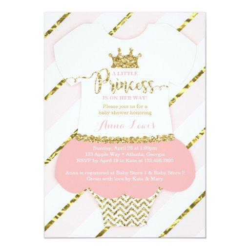 baby shower little princess baby shower invitation pink gold card