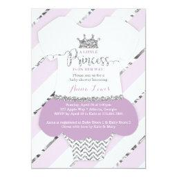 Little Princess Baby Shower Invite, Faux Glitter