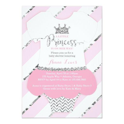 Little Princess  Invite, Faux Glitter