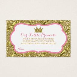 Little Princess Diaper Raffle Ticket, Faux Glitter