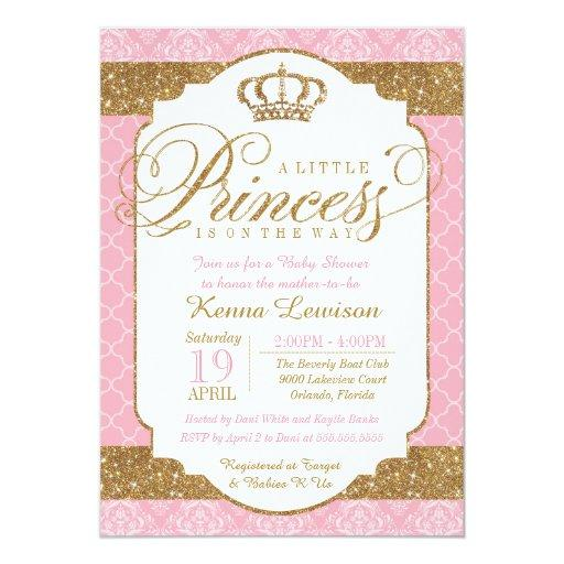 baby shower little princess royal pink and gold baby shower card