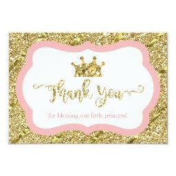Little Princess Thank You , Pink, Faux Glitter