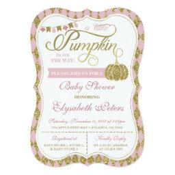 Little Pumpkin Baby Shower Invitation, Faux Gold