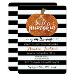 Little Pumpkin On The Way Fall  Invite