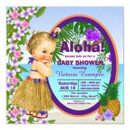 Luau Hula Girl Hwaiian Tropical Baby Shower