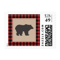 Lumberjack Red Plaid Black Red Bear Stamps