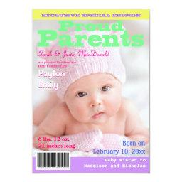 Magazine Cover Style Birth Announcement with Photo