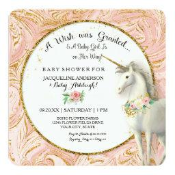 Magical Unicorn Baby Girl Shower Marble Rose Gold