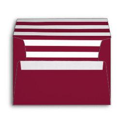 """Maroon A7 Envelope 5""""x7"""" with Striped Lining"""