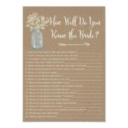Mason Jar How well do you know the bride