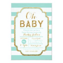 Mint And Gold  Invitation, Baby Girl