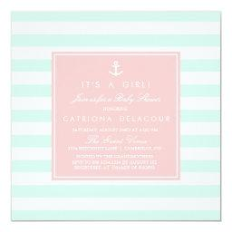 Mint and Pink Nautical Baby Shower