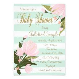 Mint and Pink Stripe Baby Shower