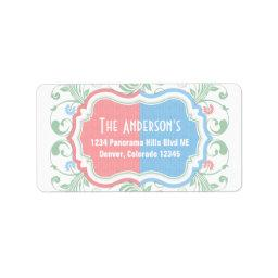 Mint Blue Pink Floral Gender Reveal Return Address Label