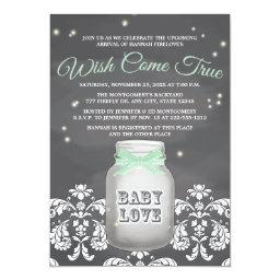 Mint Chalkboard Firefly Mason Jar Baby Shower
