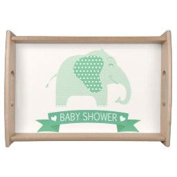 Mint Green Baby Elephant Baby Shower Serving Tray