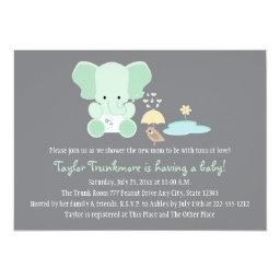 Mint Green Elephant Little Bird Baby Shower