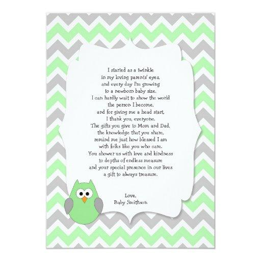 Mint Green Owl  thank you notes w poem