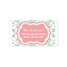 Mint Green Pink Floral Return Address Mailing Label
