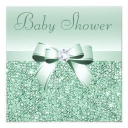 Mint Green Sequins, Bow & Diamond Baby Shower