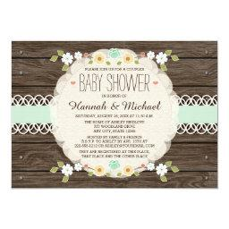 MINT RUSTIC FLORAL BOHO COUPLES  INVITE