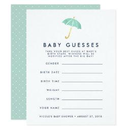 Mint Umbrella Baby Shower Guessing Game