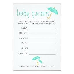 Mint Umbrellas Baby Shower Guessing Game