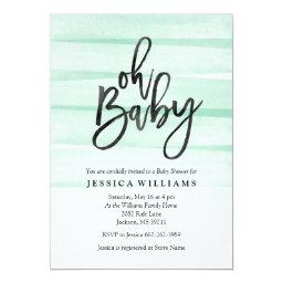Mint Watercolor Gradient Oh Baby Shower