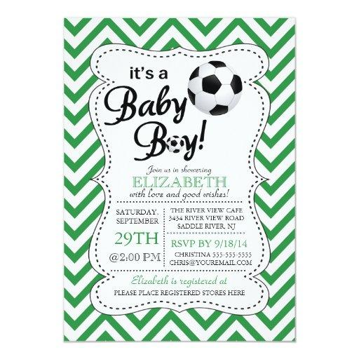 Modern Chevron It's a Baby Boy Soccer