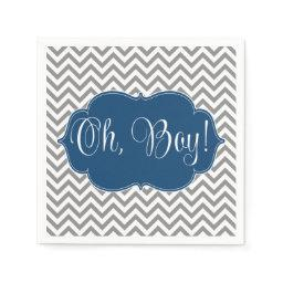 Modern Chevron Navy Blue Gray Boy  Paper Napkin