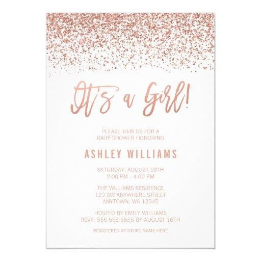 Modern Faux Rose Gold Glitter Girl