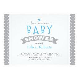 Modern Grey Dotted  Photo Invite Boy