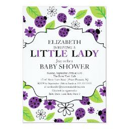 Modern Little Lady Purple Ladybug Baby Shower