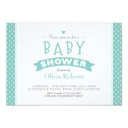 Modern Mint Dotted  Photo Invite