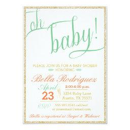 Modern Oh Baby Shower Coral Mint Gold Glitter