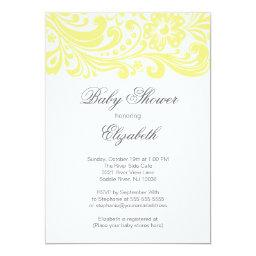 Modern Soft Yellow Floral Swirl