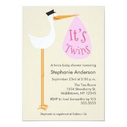 Modern Stork Baby Shower  - Twin Girls