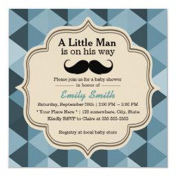 Modern Teal Triangles Mustache Baby Shower