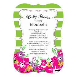 Modern Tropical Hibiscus Flowers Baby Shower