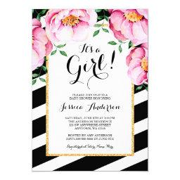 Modern Watercolor Floral Stripes Girl Baby Shower