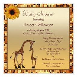 Mom & Baby Giraffe Gold Save the Date