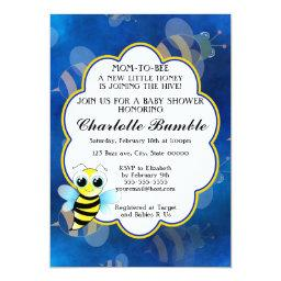 Mom To Bee Blue & Yellow Unisex Baby Shower