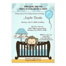 MONKEY Baby Shower  Crib CJ-BLUE boy