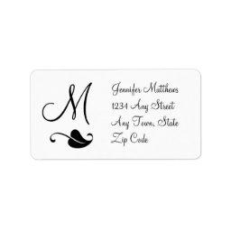 Monogram Address Labels Black and White