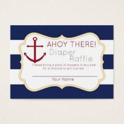 Nautical Ahoy There Diaper Raffle Ticket