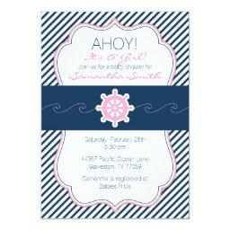 Nautical  Invitation-Navy Blue & Pink
