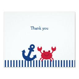 Nautical Crab Flat Thank You Note