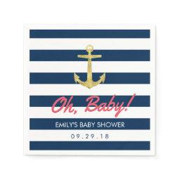 Nautical Gold Anchor Navy Blue Stripes Baby Shower Paper Napkin