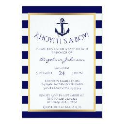 Nautical Navy Blue/White BOY  Invites
